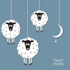 Cute sheep in paper cut out style. Sheep counting concept