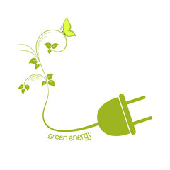 Electric plug with green leaves. Eco friendly energy concept