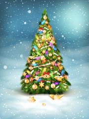 Christmas fir tree on winter landscape. EPS 10