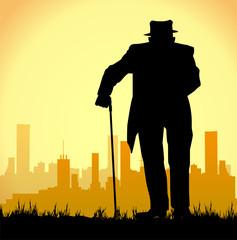 uomo anziano che cammina con il bastone