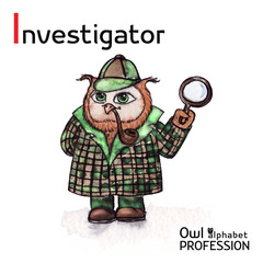 Alphabet professions Owl Letter I - Investigator character