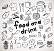 Food and drink hand drawn icons