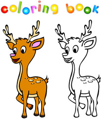 Funny cartoon deer coloring book