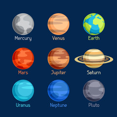 Cosmic icon set of planets solar system.