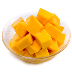 Mango cubes in the dish / slices close up isolated on white / Ma