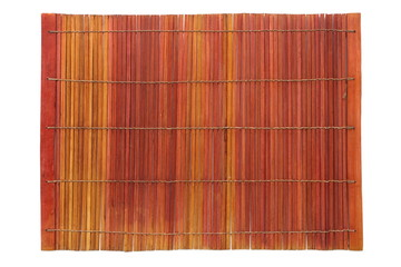Brown bamboo mat isolated on a white background