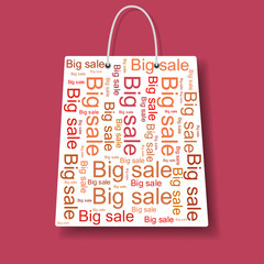 Shopping bag with Big Sale logo. Vector.