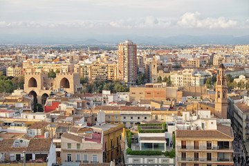 View of the roofs of Valencia and Serranos Towers, Spain
