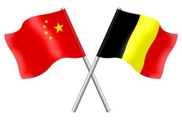 Flags: China and Belgium