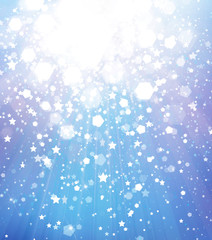 Abstract blue  background with lights and stars.