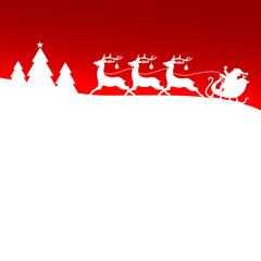Christmas Sleigh Santa 3 Reindeers Red Card