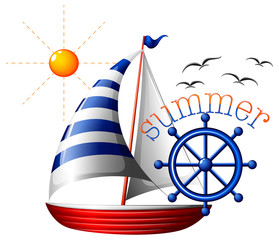 A summer template with a boat