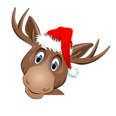 Head of a reindeer with Santa Claus hat isolated on white