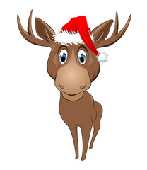 Christmas reindeer with Santa Claus hat isolated