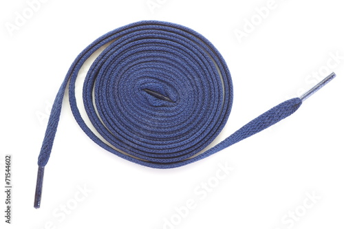 canvas print picture Blue shoelace fashion on a white background