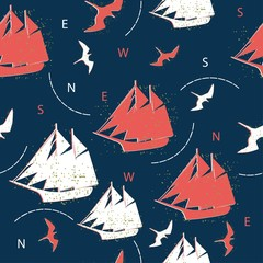 seamless pattern ships and marine birds
