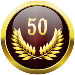 Golden anniversary button with number 50 and laurel wreath