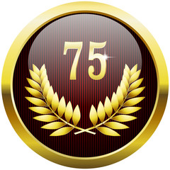 Golden anniversary button with number 75 and laurel wreath