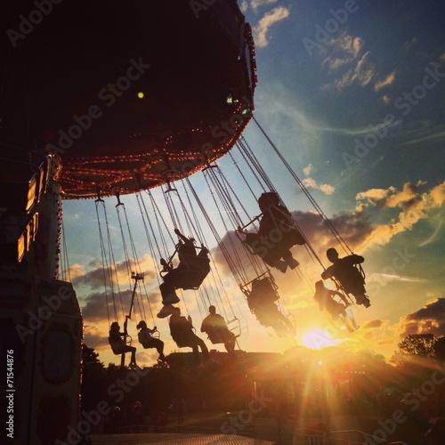 canvas print picture fairground sunset