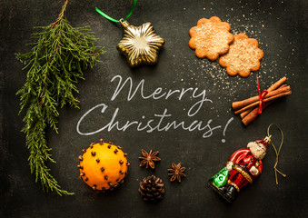 Merry Christmas - poster or postcard design with decorations