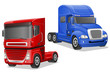big blue and red trucks vector illustration