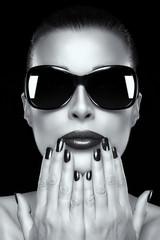 Beautiful Fashion Model Girl in Oversized Sunglasses
