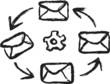 Doodle social media, share envelope