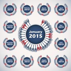 Vector calendar 2015 template