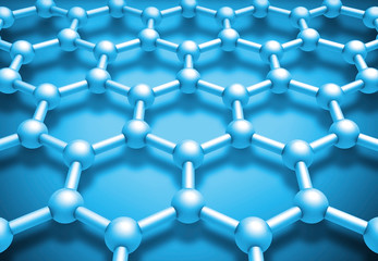 Graphene layered molecule structure, blue schematic model