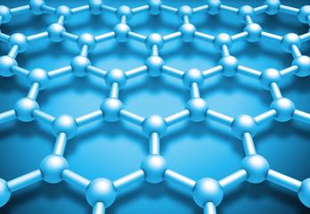 Graphene layered molecule structure, blue schematic model
