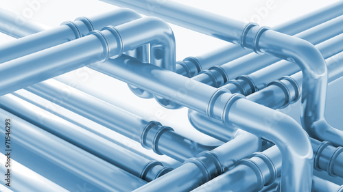 canvas print picture Modern industrial blue metal pipeline fragment. 3d render