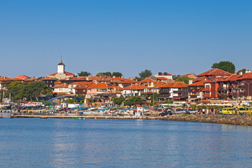 Panoramic view of ancient town on the coast. Nessebar, Bulgaria