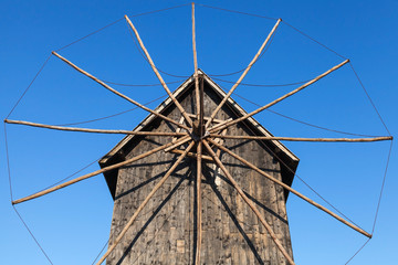 Ancient wooden windmill, popular landmark of old Nessebar