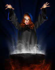 Witch with cauldron on blue light background