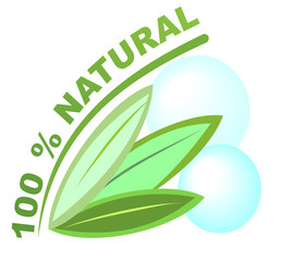 Label 100 % natural for healthy natural products