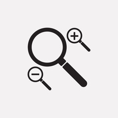 Black magnifying glass icons set