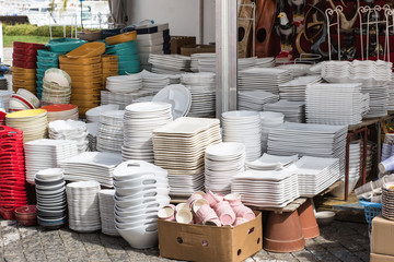 Crockery on a market stall