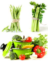 Set green pots full of vegetables, green celery and bean pods
