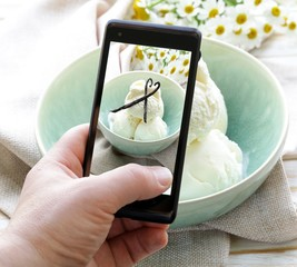 smartphone shot food photo - vanilla ice cream