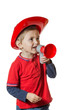 Cute young boy in a fireman costume
