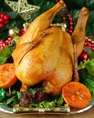 baked chicken for festive dinner, Christmas table setting