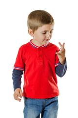Young boy counting fingers