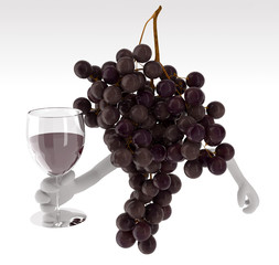 grapes with arms and glass of wine on hand