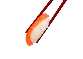 Sushi with chopsticks on white