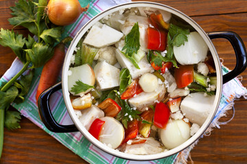fresh vegetables in the pot