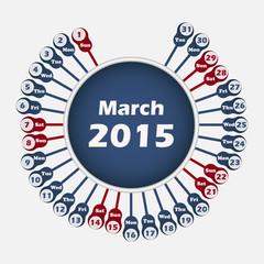 Vector calendar 2015 March template