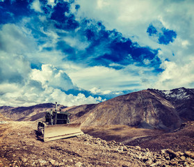 Bulldozer on road in Himalayas