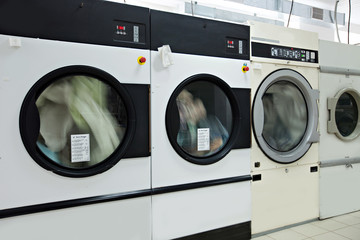 Running washing machines in laundry room