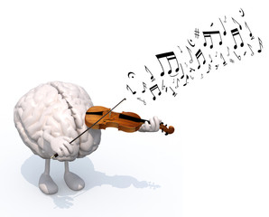 human brain with arms and legs who plays the violin