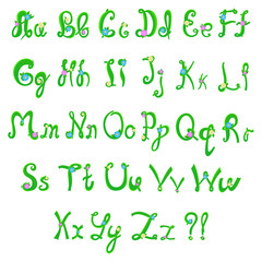 English hand-written alphabet in spring style